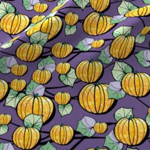 Purple and orange pumpkin patch fabric