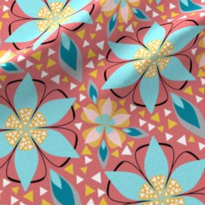 Fruit punch and aqua star flower fabric