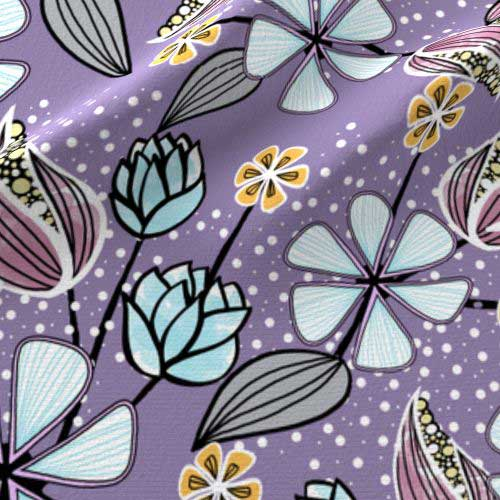 Purple and aqua large floral fabric