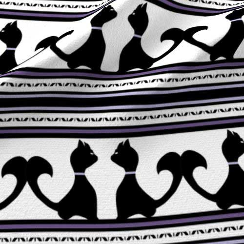 Purple and black cats on black and white stripe fabric