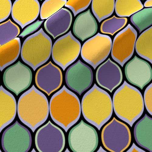 Purple, green, and orange ogee pattern fabric