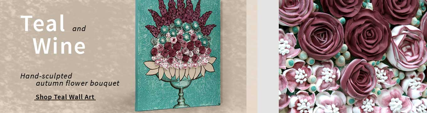 Teal and wine art collection
