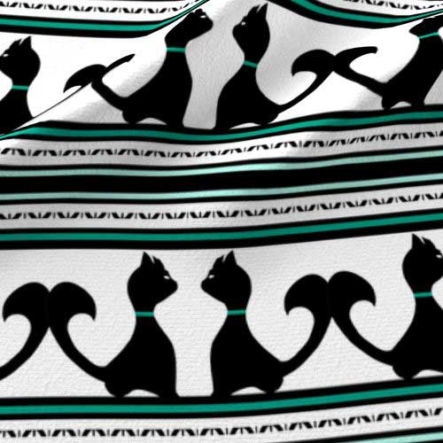 Teal and black cats on stripe fabric