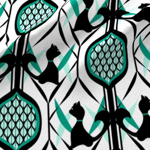 Teal and black cats on white wallpaper