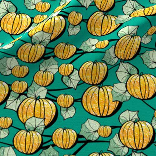 Teal and orange pumpkin patch fabric