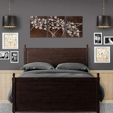 Wall art in brown and gray of flower painting