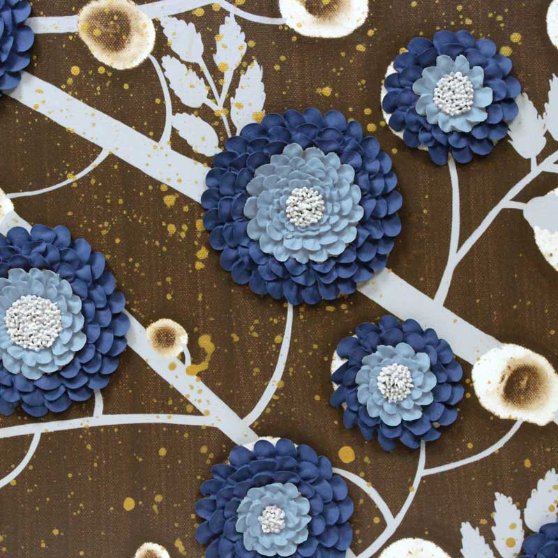 Center view of 4 canvas art of brown and blue climbing flowers