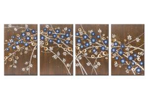 Huge Wall Art Set of 4 Flower Paintings in Brown, Blue – Extra Large