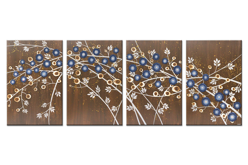 4 extra large canvas art of brown and blue climbing flowers