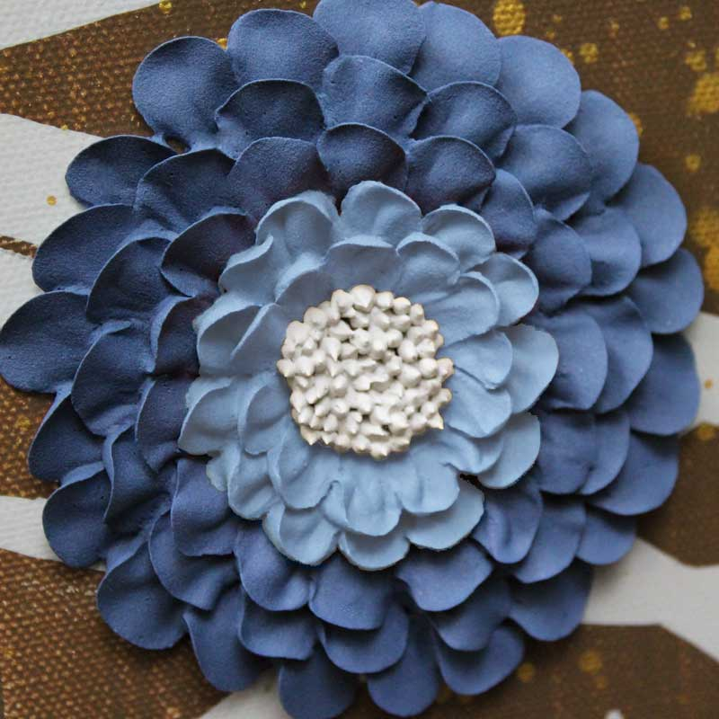 Sculpted zinnia on 4 canvas art of brown and blue climbing flowers