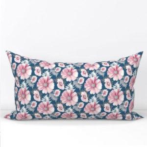 Fabric & Wallpaper: Large Cosmos Flower in Pink, Indigo