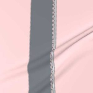 Simple scallop border fabric in pink and gray