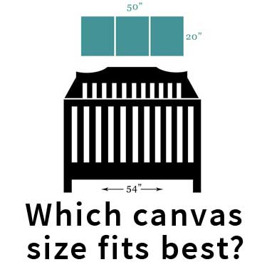 Which canvas size fits best above nursery furniture