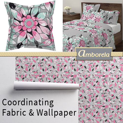 Coordinate fabrics and wallpaper by Amborela
