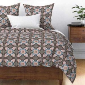 Fabric & Wallpaper: Quilt Square Rose Quatrefoil in Peach, Blue, Brown