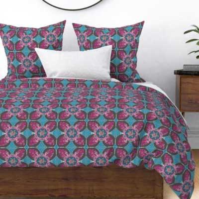 Fabric & Wallpaper: Quilt Square Rose Quatrefoil in Pink, Gray, Blue