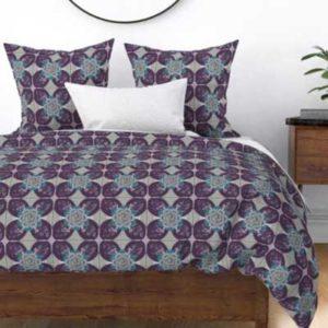 Fabric & Wallpaper: Quilt Square Rose Quatrefoil in Purple, Teal