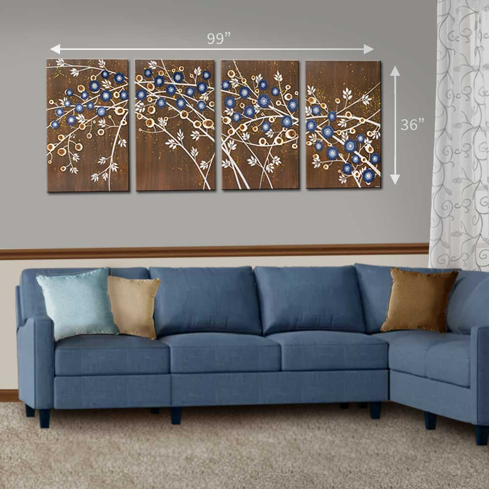 Size guide setting of 4 canvas art of brown and blue climbing flowers