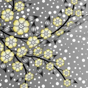 Large floral border fabric in gray, black, white, and yellow