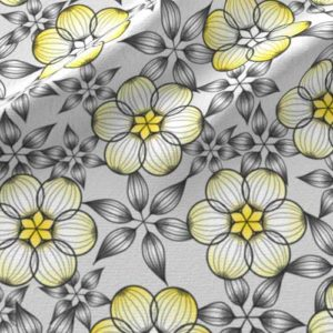 Large scale flower fabric in gray and yellow
