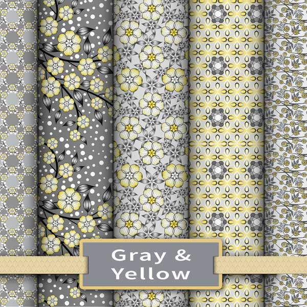 Gray and yellow fabric and wallpaper