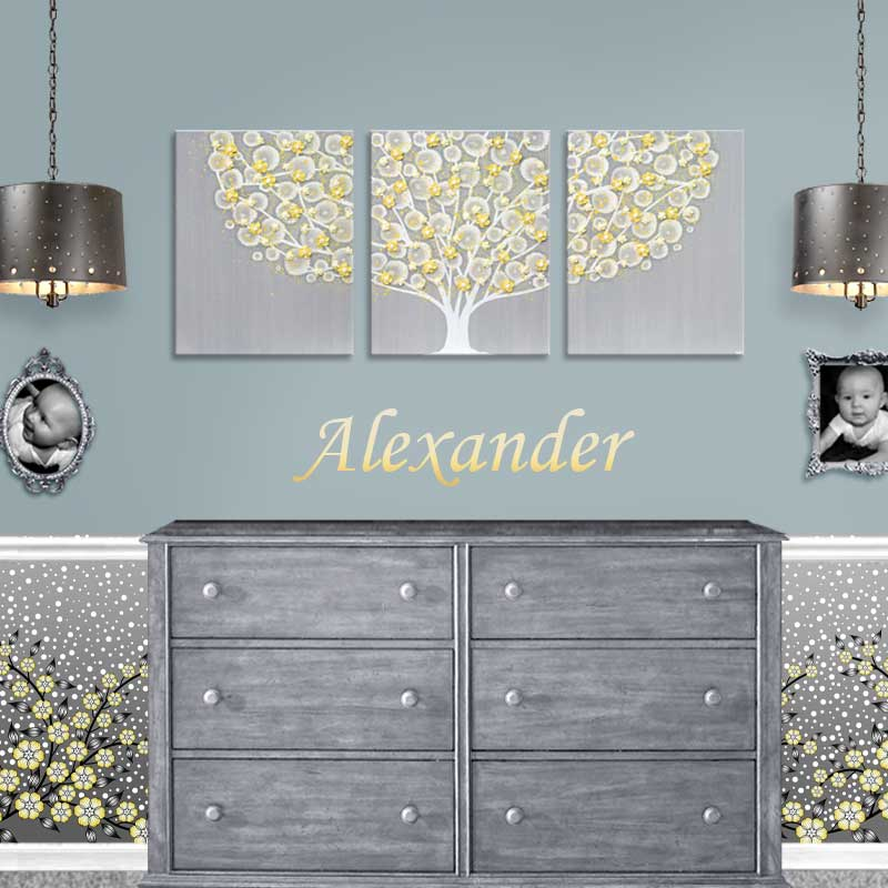 Gray and yellow tree painting and matching wallpaper