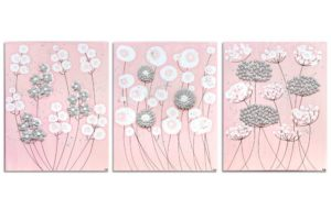 Nursery art pink and gray flowers set of three
