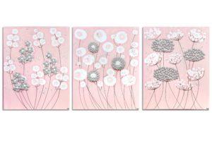 Nursery art pink and gray flowers set of three