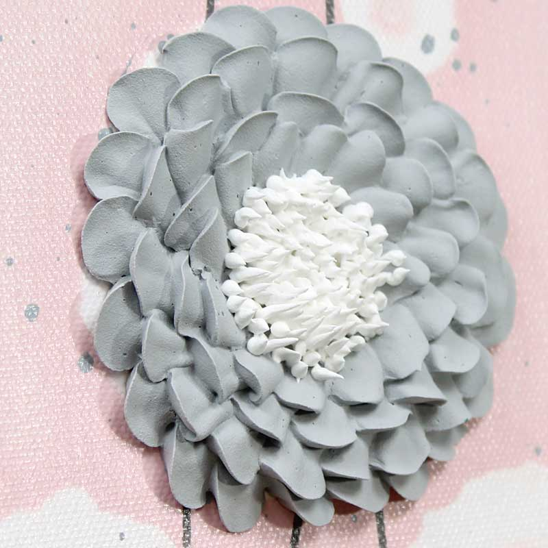 Zinnia on nursery art pink and gray flowers set of three