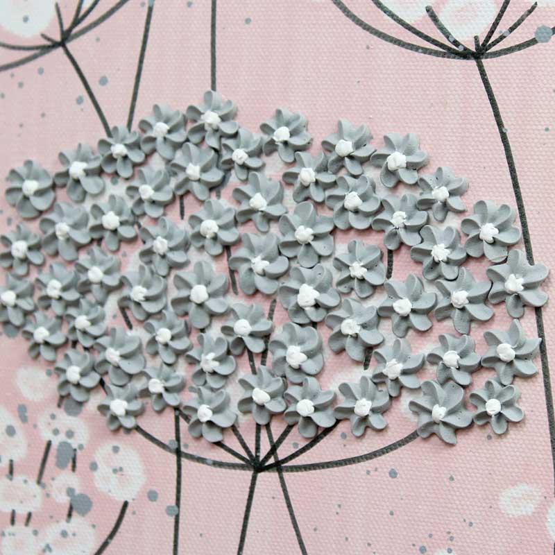Close up of nursery art pink and gray flowers set of three