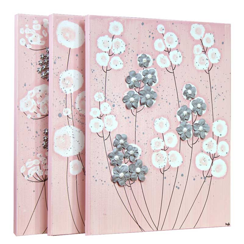 Side view of nursery art pink and gray flowers set of three