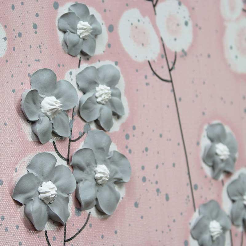 Wildflower on nursery art pink and gray flowers set of three