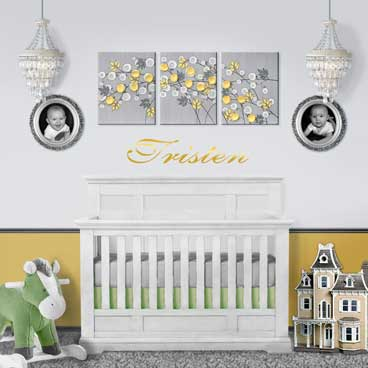 Shop for yellow and gray flower nursery art