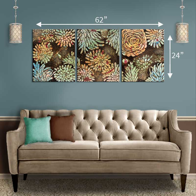 Size guide for extra large wall art orange and green dahlia flowers