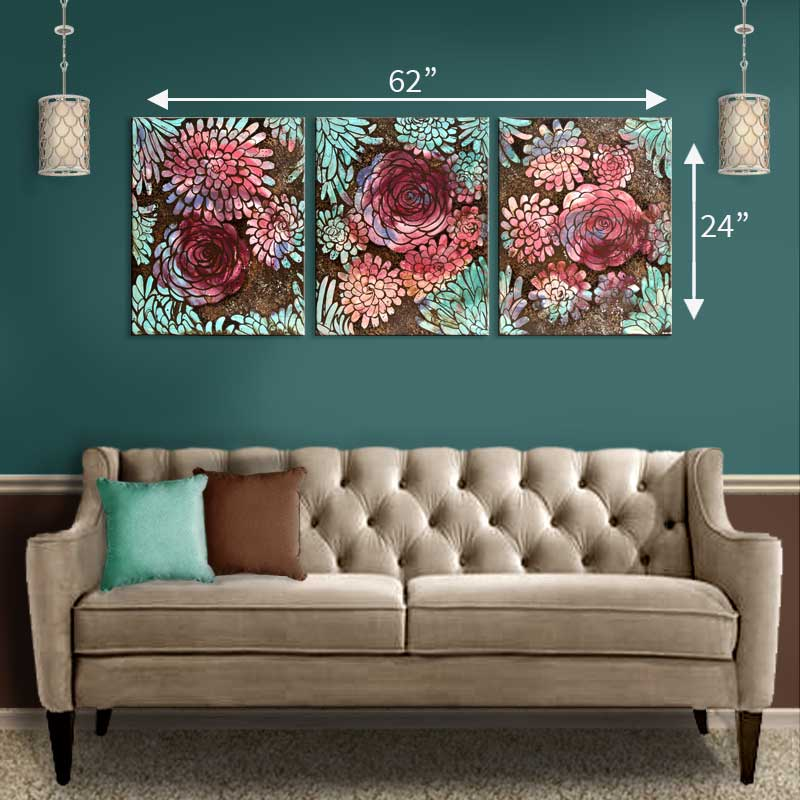 Size guide for extra large wall art peach, teal, and purple dahlias