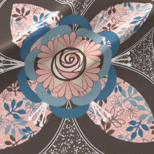 Quilt square with peach and blue rose in quatrefoil