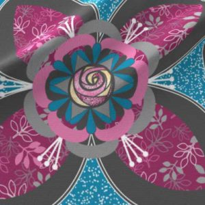 Quilt square with magenta and blue rose in quatrefoil