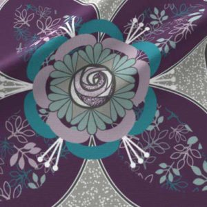 Quilt square with purple teal rose in quatrefoil