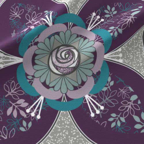 Quilt square with purple teal rose in quatrefoil