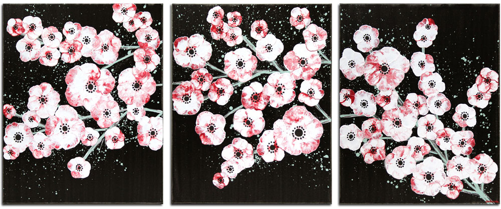 New flower style on black and red cherry blossom painting