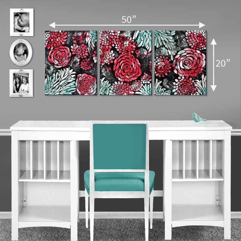 Size guide for large wall art red and teal dahlia flowers