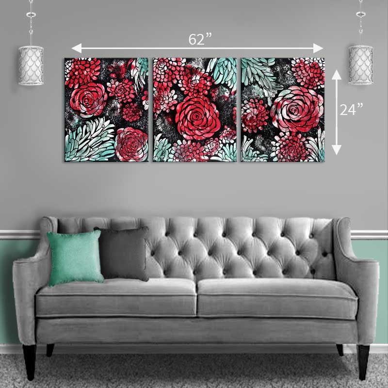 Size guide above sofa for wall art red and teal dahlias