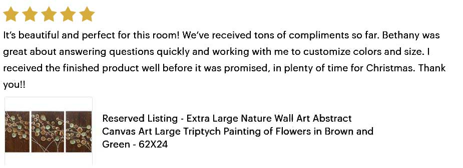 5 star review of brown and green flower painting
