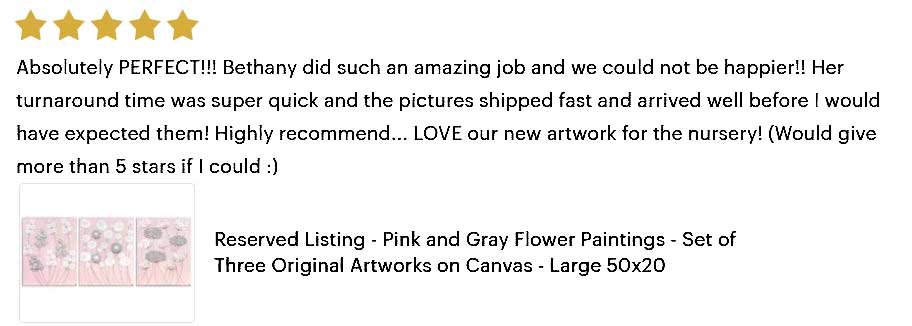 5 star review of gray and pink flower painting