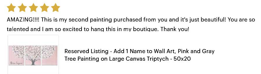 5 star review of custom pink and gray tree painting