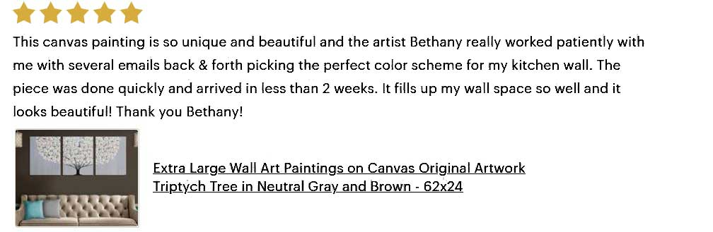 5 star review of extra large gray tree painting