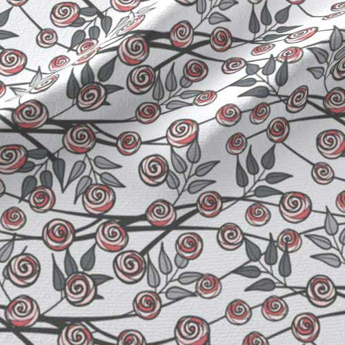 Nursery fabric in pink and gray of rose branches