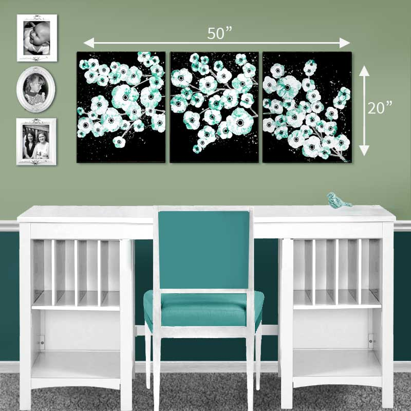 Size Guide of painting of teal and black cherry blossom on canvas triptych