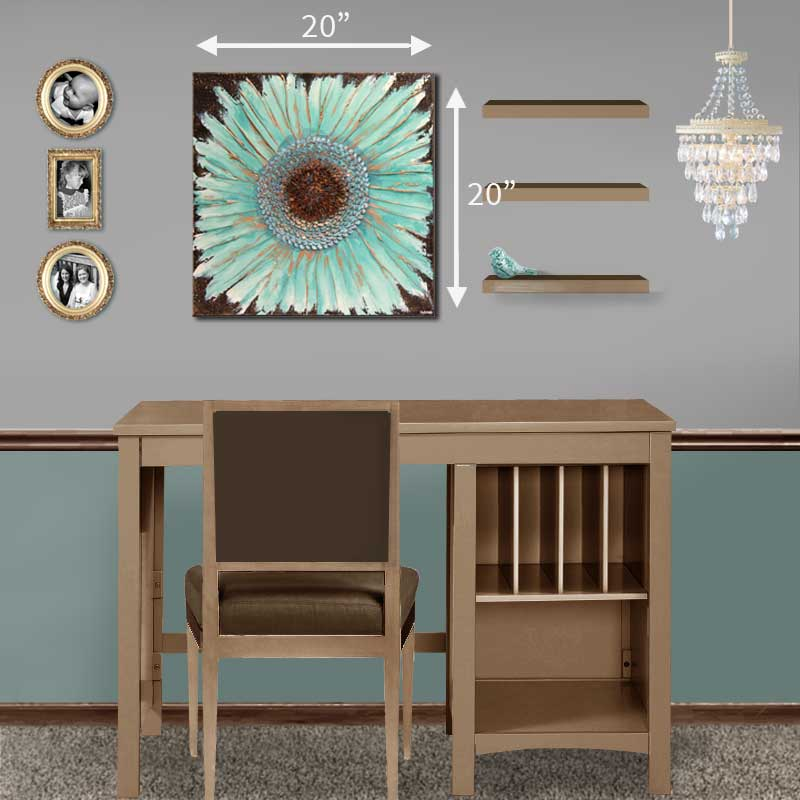 Size guide for wall art painting of zinnia flower in teal and copper