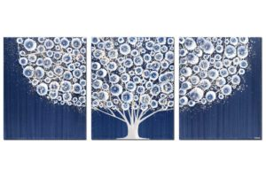 Wall art of tree in indigo blue and brown gray